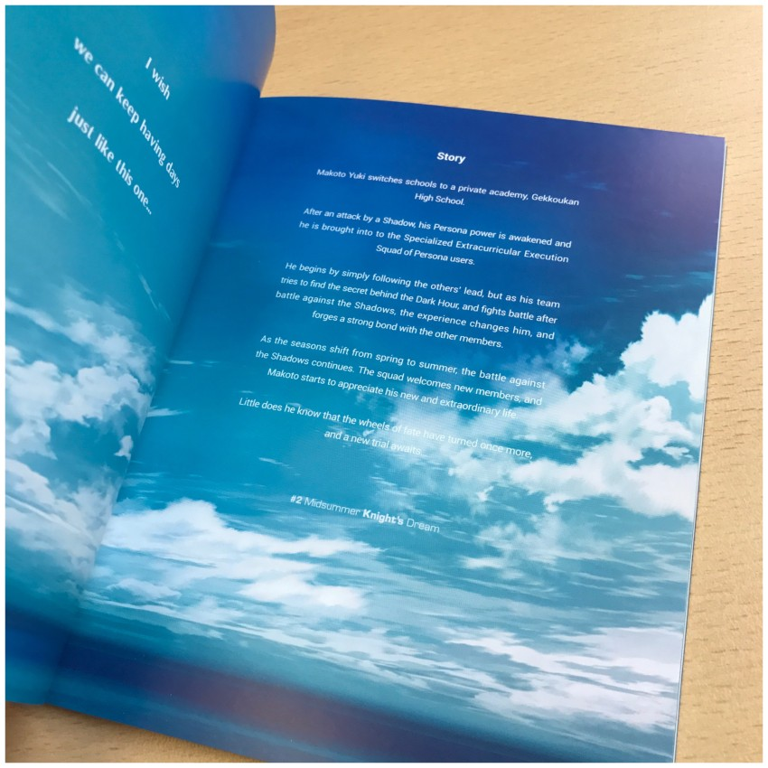 The story page of the booklet