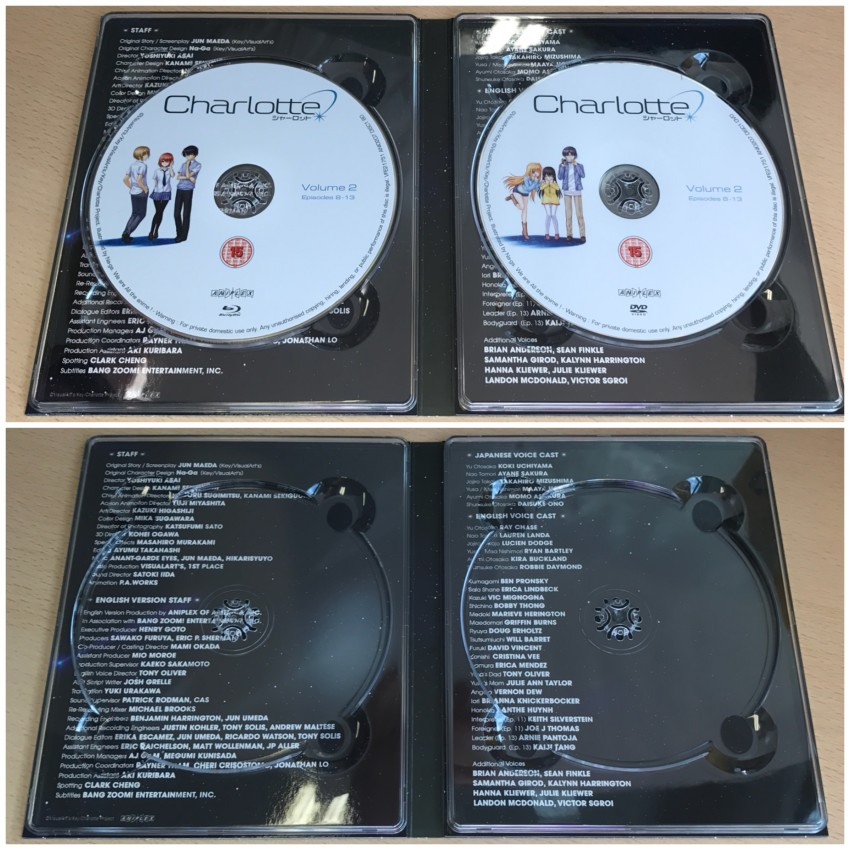 Now the inside of the digipack with the discs in place (top) and removed (bottom)