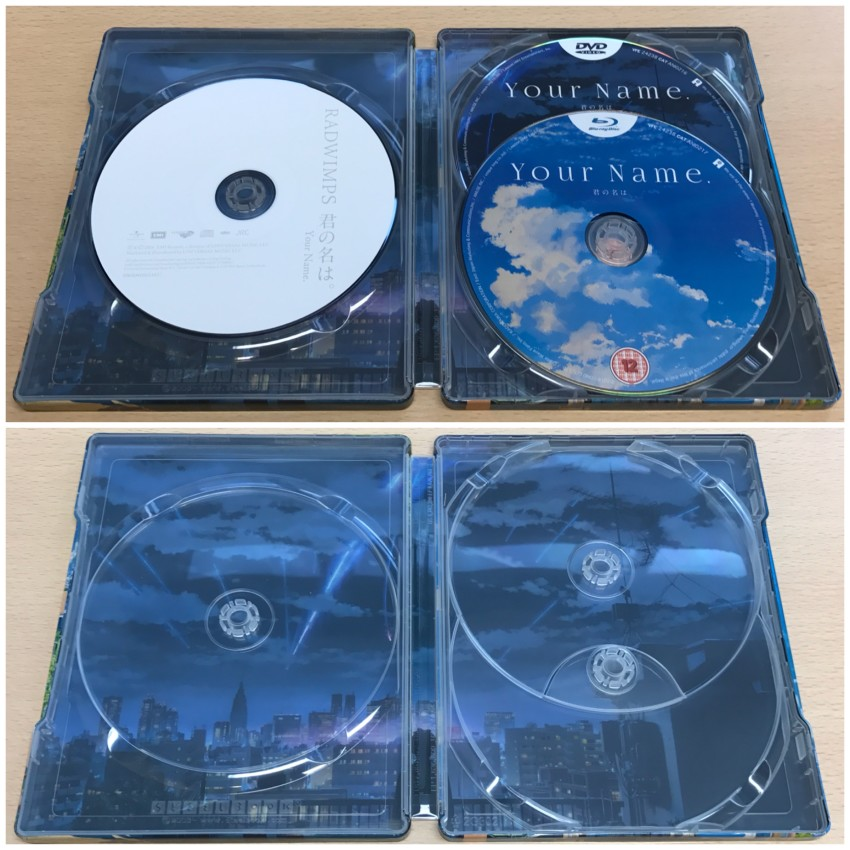 The inside of the Steelbook. Discs in place (top) and removed (bottom)