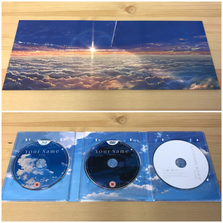 The digipack. The outer side (top) and inner side (bottom) with the discs in place.