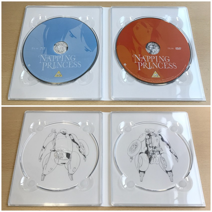 Inner side of the digipack. With discs in place (top) and removed (bottom)