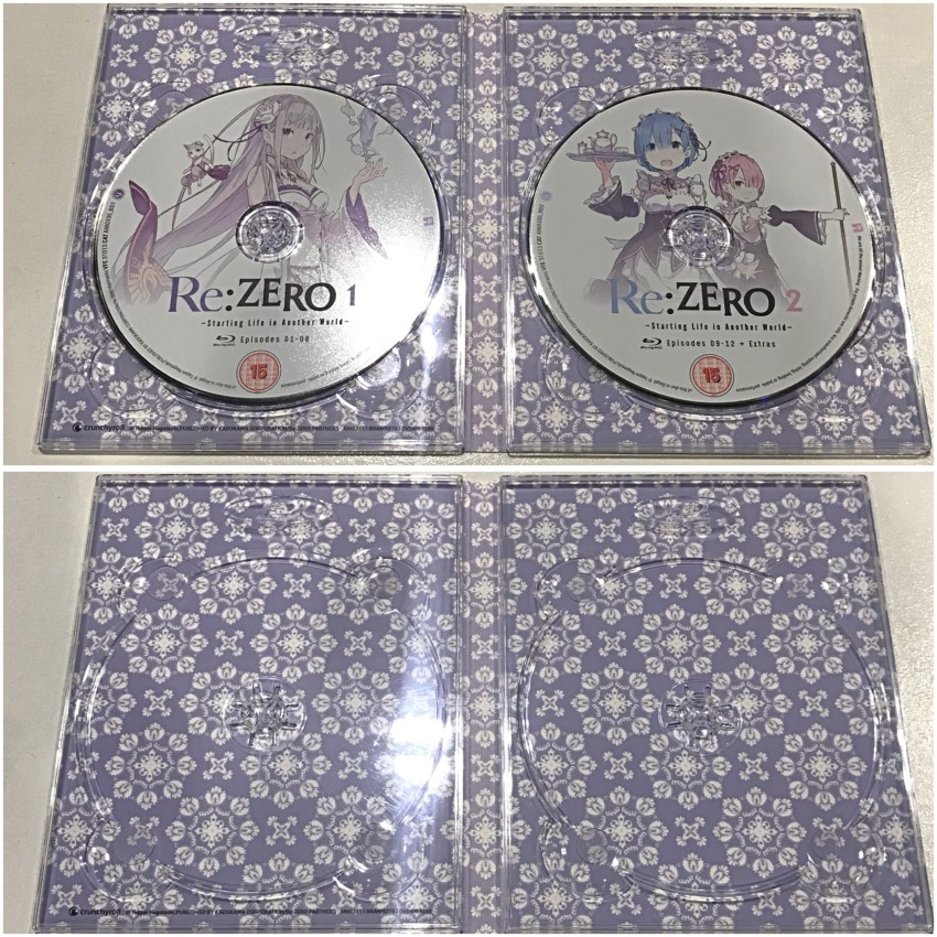 The inner side of the digipack, with discs in place (top) and removed (bottom)