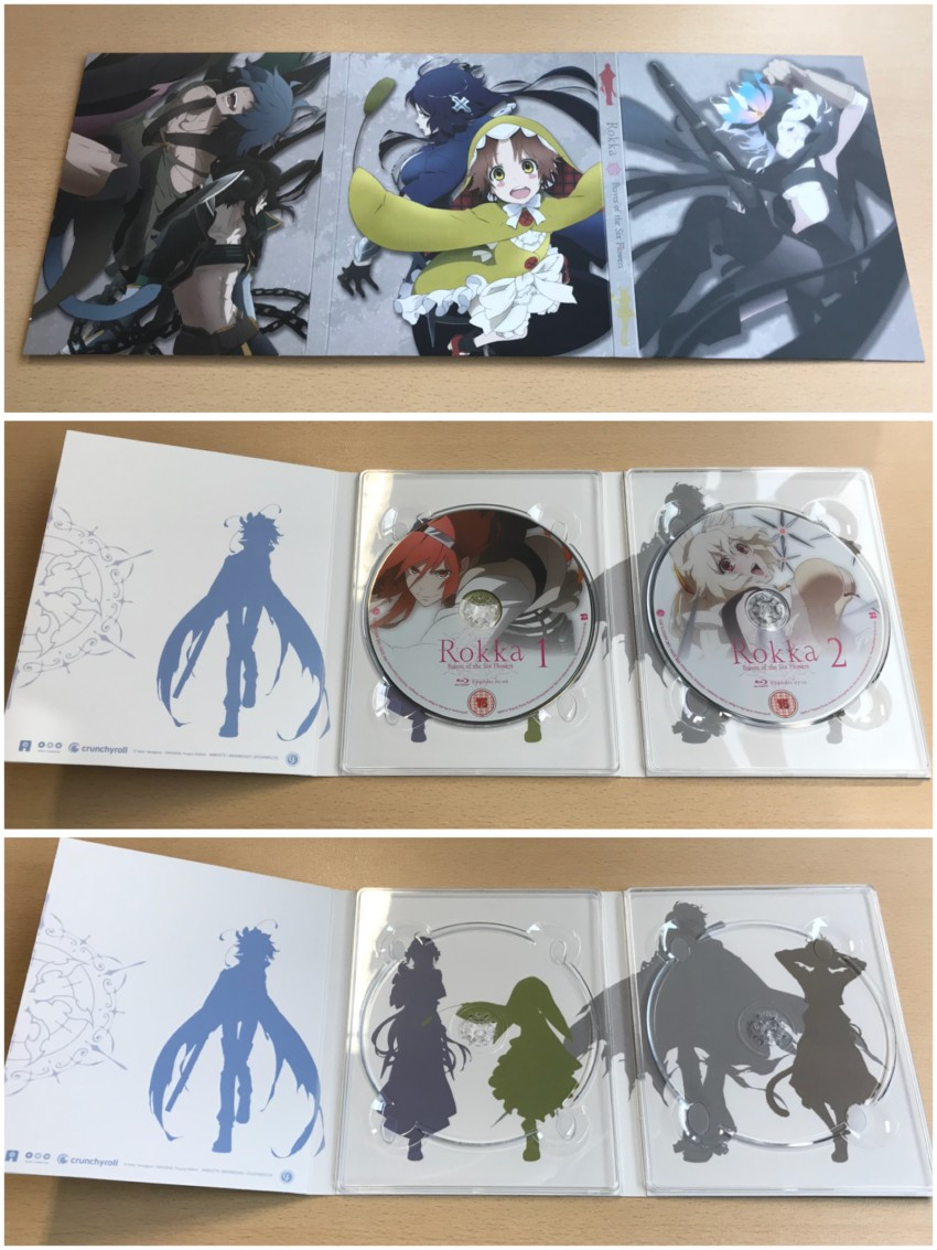 The digipack. We have the outer side (top), inner side with discs in place (middle) and with discs removed (bottom)
