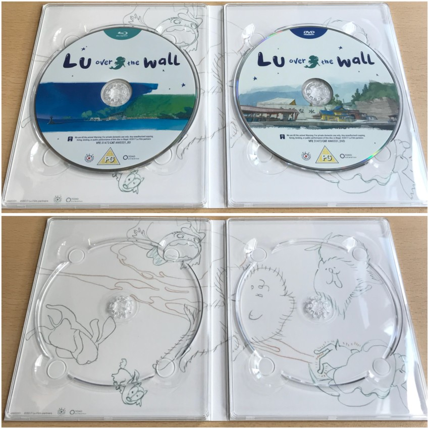 Inner side of digipack with discs in place (top) and discs removed (bottom)