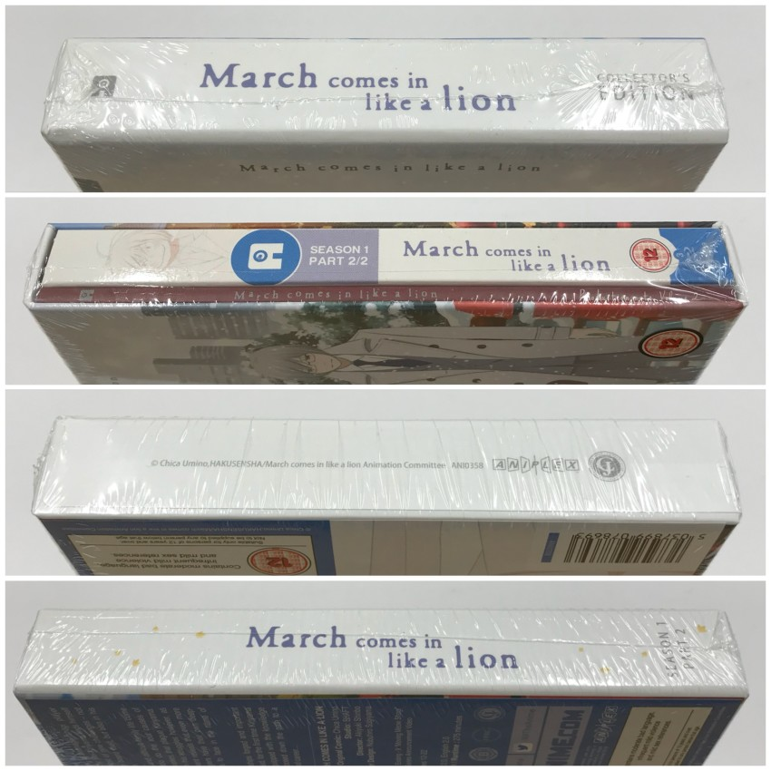 All four spines of the rigid case, cellophane around the case.