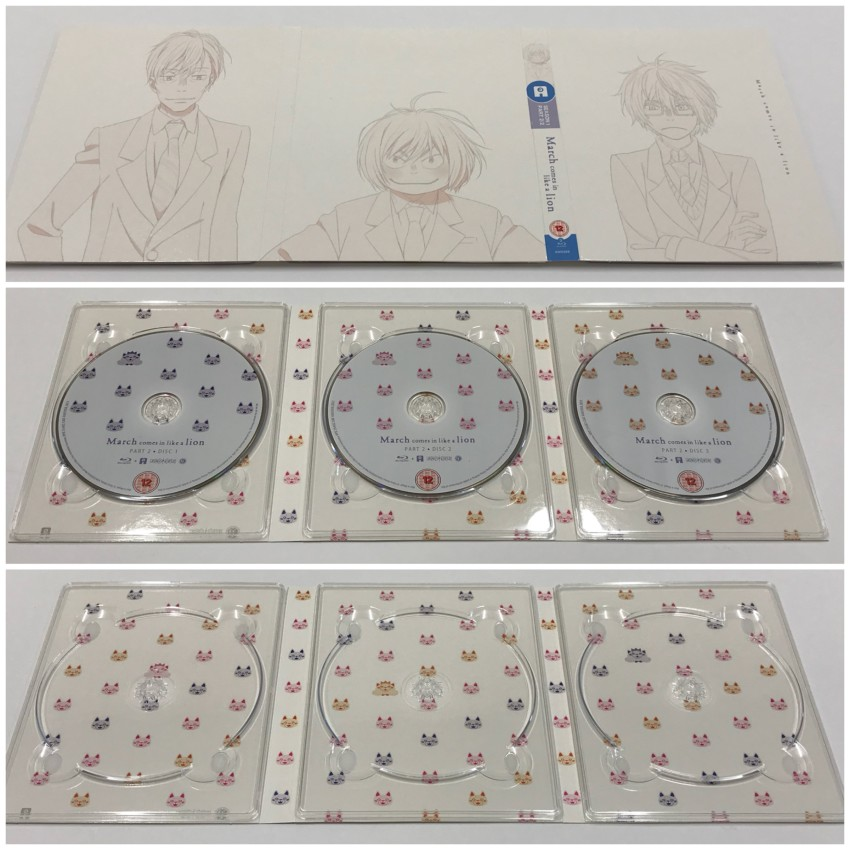First of all, the digipack. The outer side (top), then the inner side with the three Blu-ray discs in place (middle) and removed (bottom).
