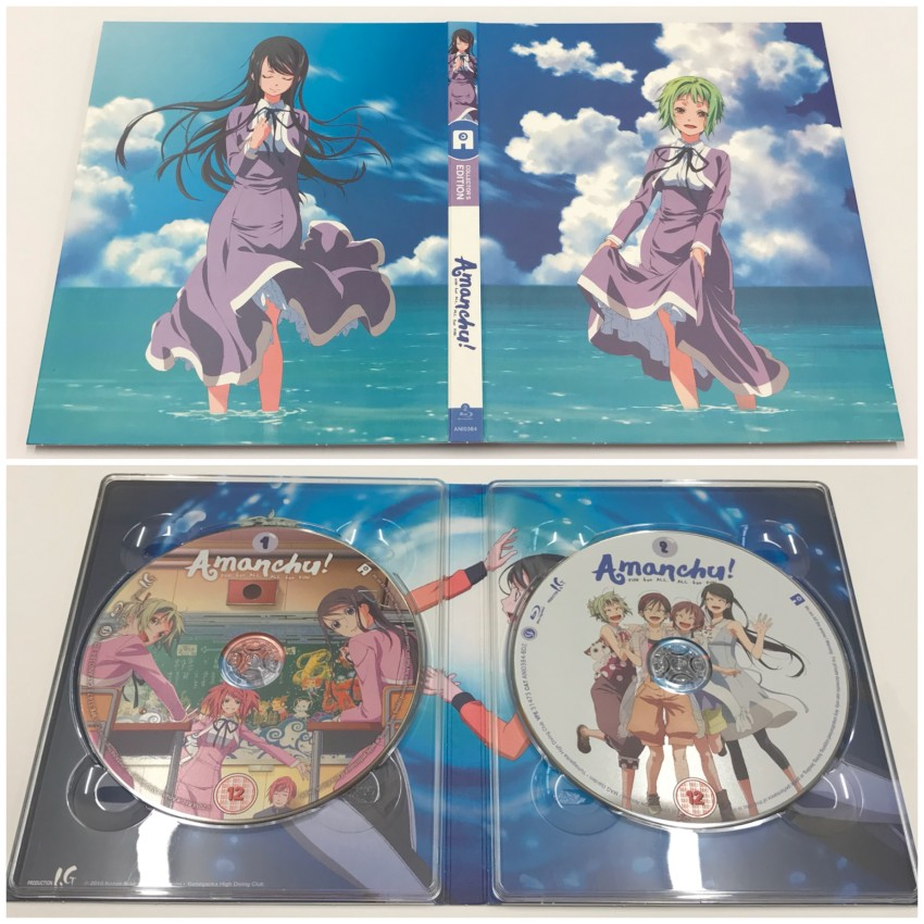 The digipack. Outer side (top) and inner side with discs in place (bottom)