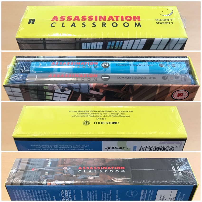 All four spines of the rigid case, cellophane around the box.