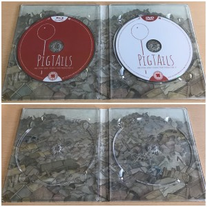 Inner side of the digipack with discs in place (top) and removed (bottom)