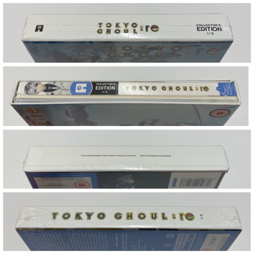All four spines of the rigid case; cellophane around the box.