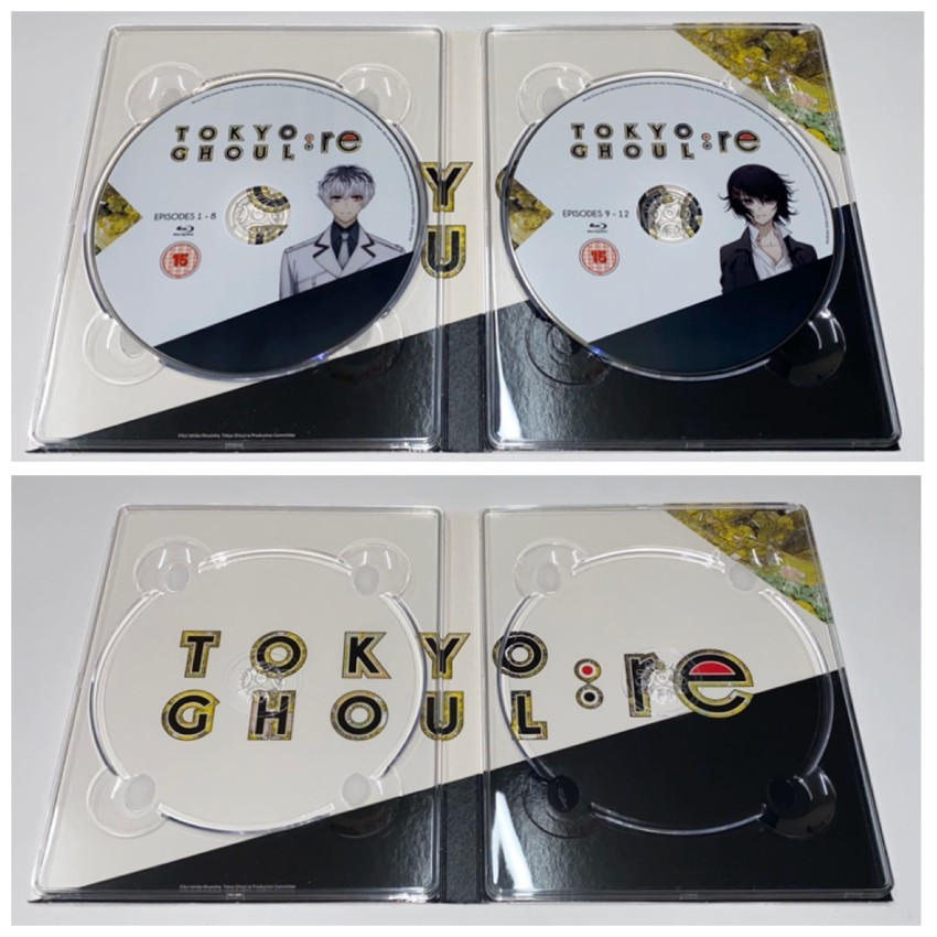 Now the inner side of the digipack with discs in place (top) and removed (bottom)