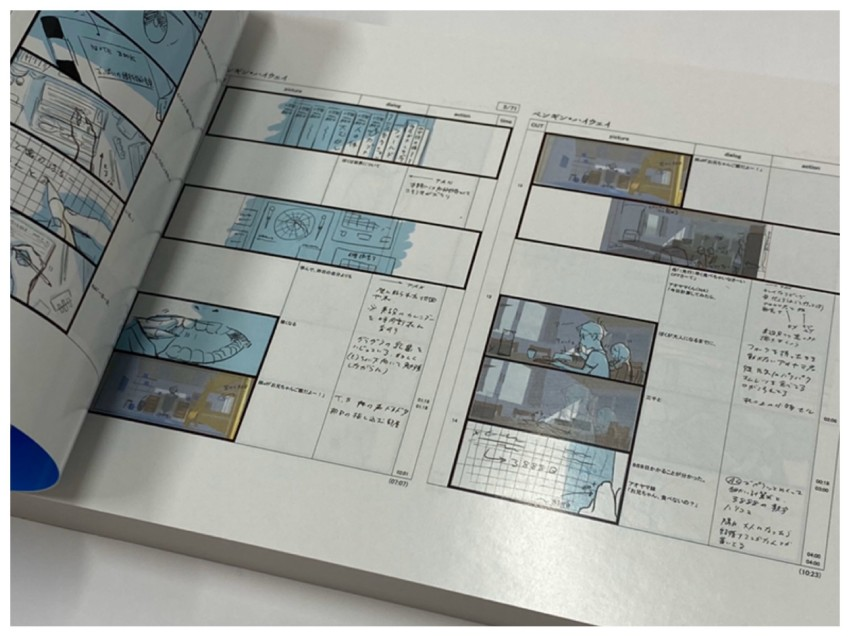 One of the unique things we talked about with this storyboard book is that it's full colour, meaning that some of the actual storyboards are in colour rather than just black and white like they traditionally are.
